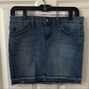 Cute Kancan distressed denim mini skirt
